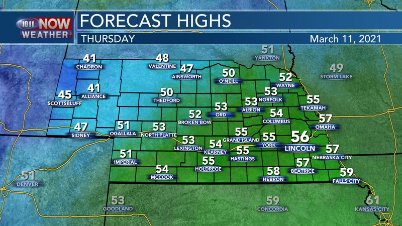 Cooler, more seasonal weather is expected on Thursday behind a cold front with highs in the 50s...