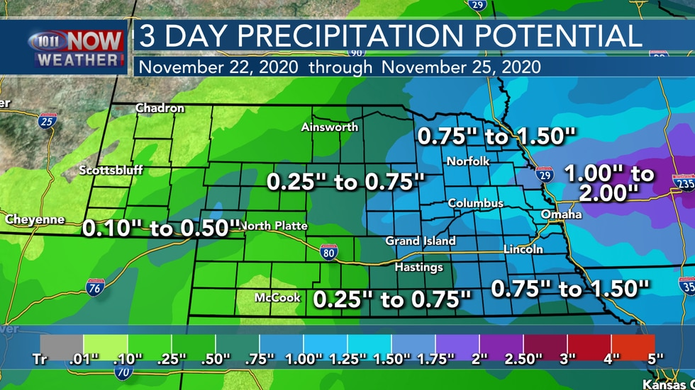 Areas of moderate to heavy rain will be possible Monday through Wednesday across eastern...