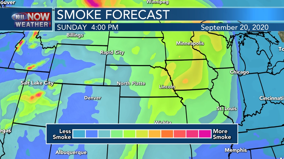 More areas of smoke are expected to create hazy conditions on Sunday. Smoke could potentially mix down to the surface on Sunday, leading to some possible air quality issues.