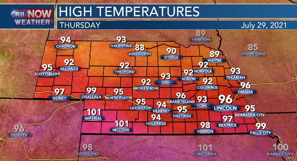 Not as hot for northern Nebraska on Thursday. Still hot and humid in southern Nebraska.