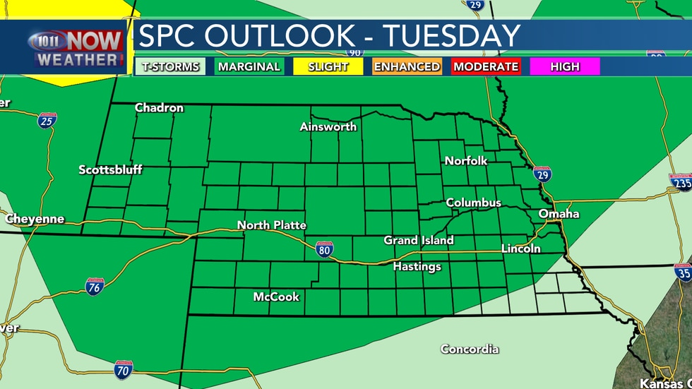 Some isolated strong to severe storms are possible on Tuesday across much of the state.