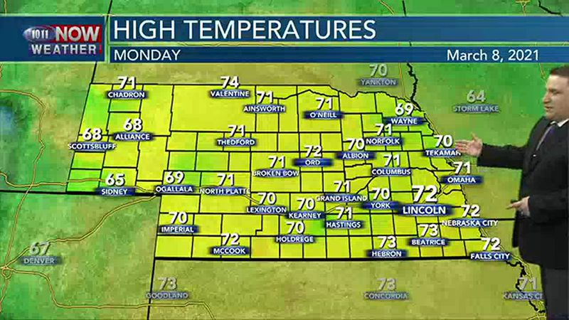 More warm, breezy weather on Monday.