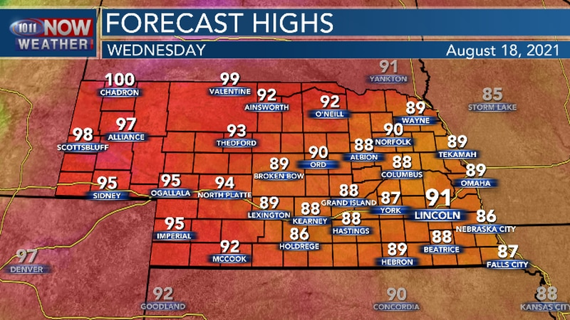 High temperatures will continue to be a bit above average.