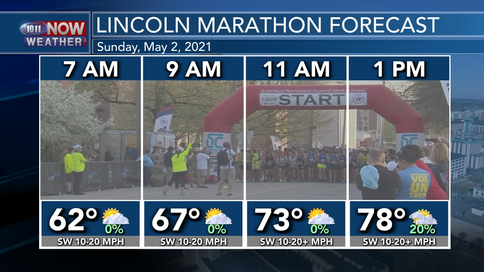 Look for partly cloudy skies and mild temperatures by Sunday morning for the Lincoln Marathon.