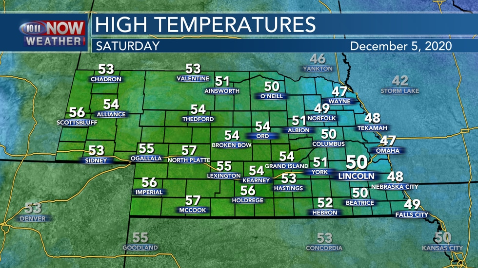 Temperatures may cool back a few degrees on Saturday for eastern Nebraska, but overall will...