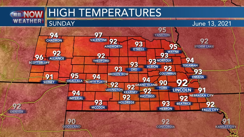 Temperatures on Sunday should climb a few degrees with afternoon highs in the low to mid 90s.