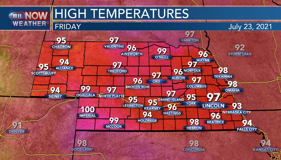 Friday should be hot and a bit humid.