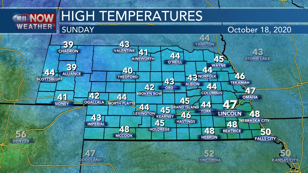 Look for a cold Sunday with highs only reaching the upper 30s to upper 40s by Sunday afternoon...