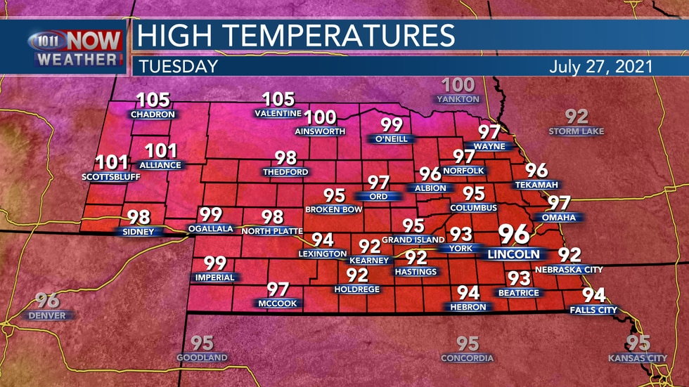 Actual air temperatures on Tuesday are forecast to be well into the 90s with some 100s possible...