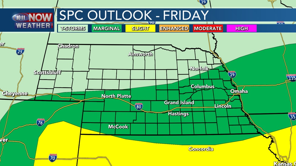 Southern Nebraska is covered be a marginal risk for severe weather for Friday. Isolated severe...