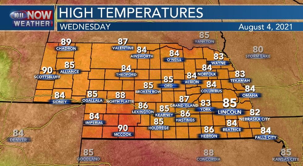 A few degrees warmer for central and eastern Nebraska.