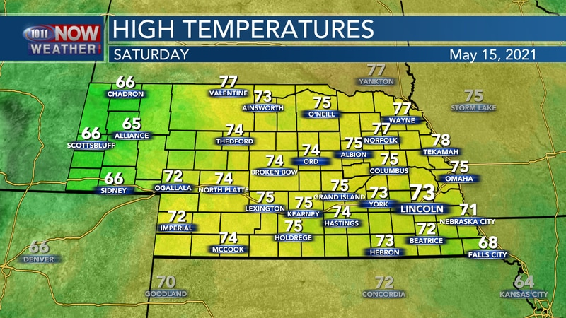 Temperatures should be a bit warmer on Saturday with highs mainly in the low to mid 70s across...