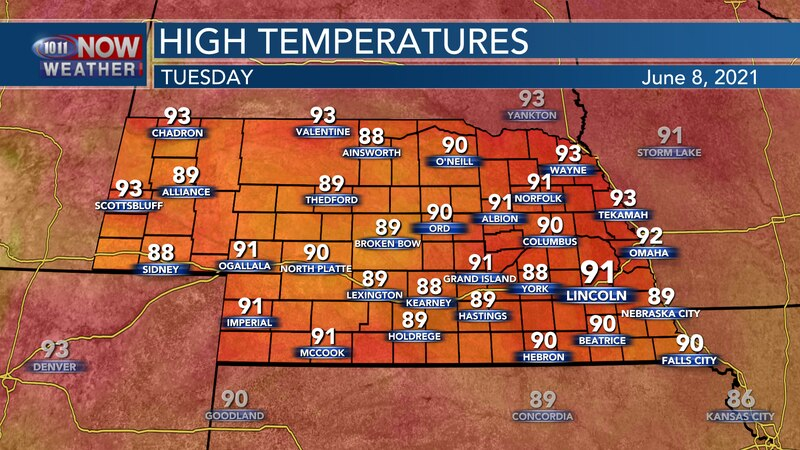 Temperatures don't move much on Tuesday, with highs staying in the upper 80s to lower and...