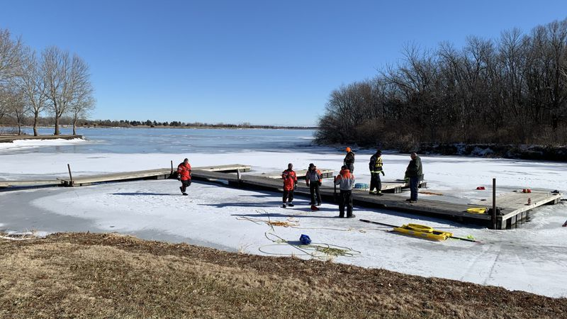 Volunteers firefighters from several departments took part in ice rescue training at Branched...