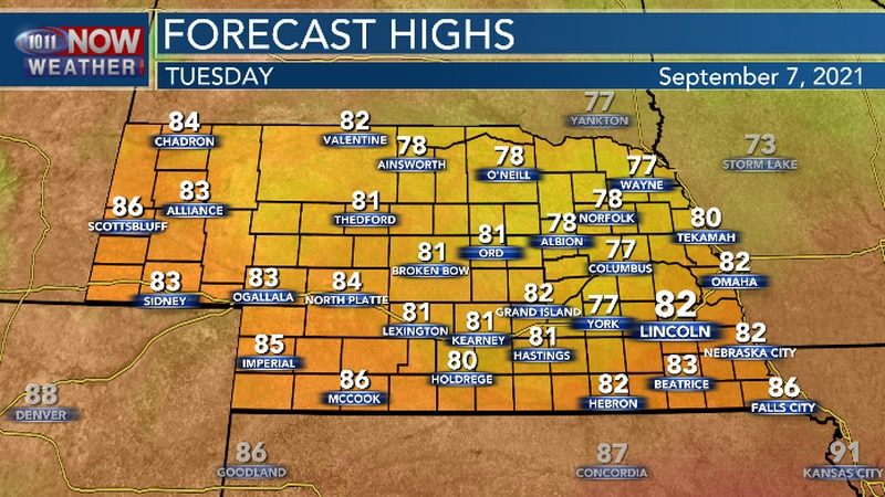 A cold front will bring cooler temperatures and less humid conditions.