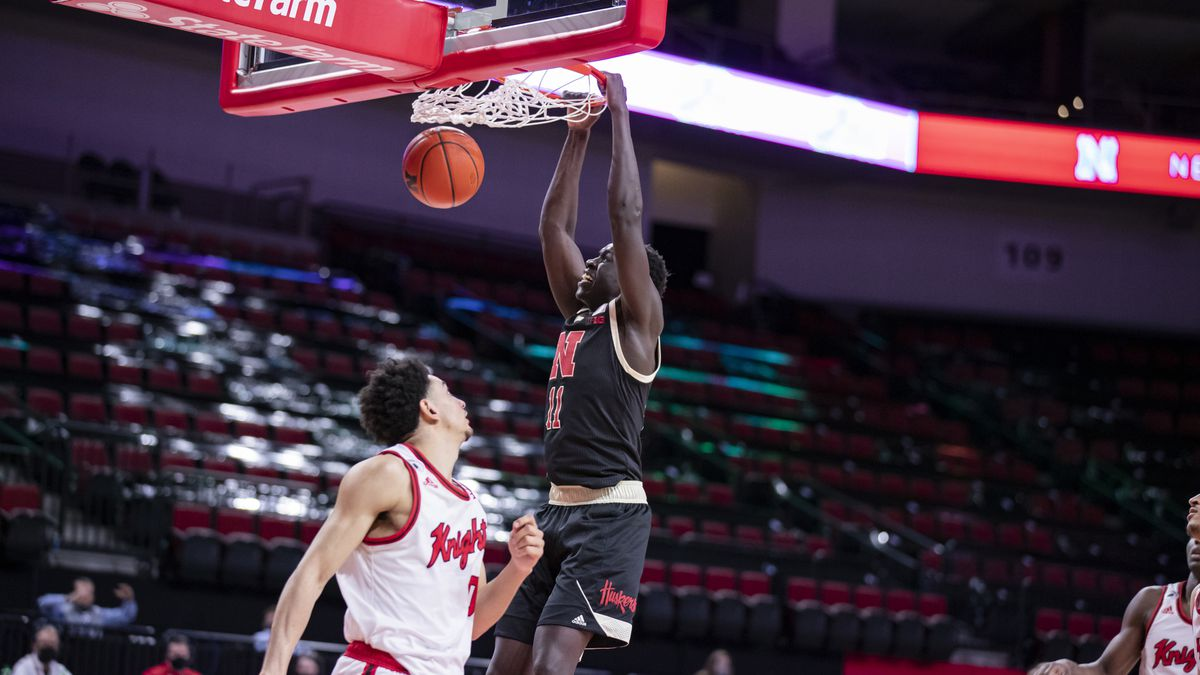 Nebraska forward Lat Mayen finishes a dunk during the Huskers' 21-point win over Rutgers.