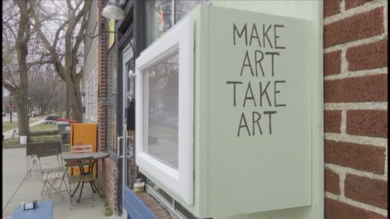 """The """"free little art gallery"""" is outside Pepe's Bistro on 11th Street and B Street. Gomez Art..."""