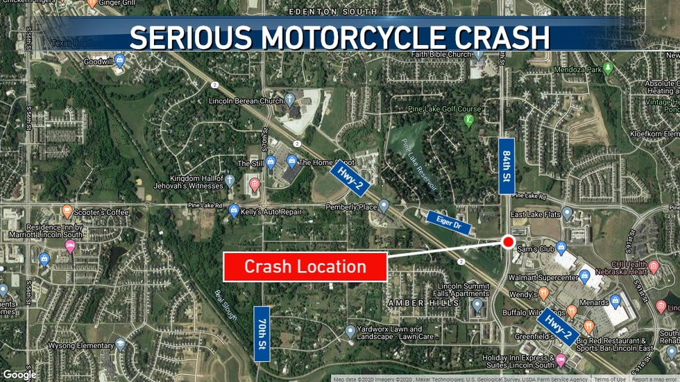 Motorcycle crash in Southeast Lincoln