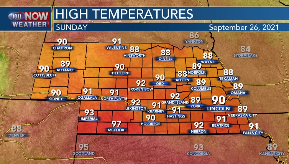 Well above average high temperatures are in the forecast for the second half of the weekend.