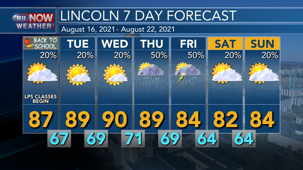 Temperatures are forecast to stay in the mid to upper 80s as we start the work week with small...