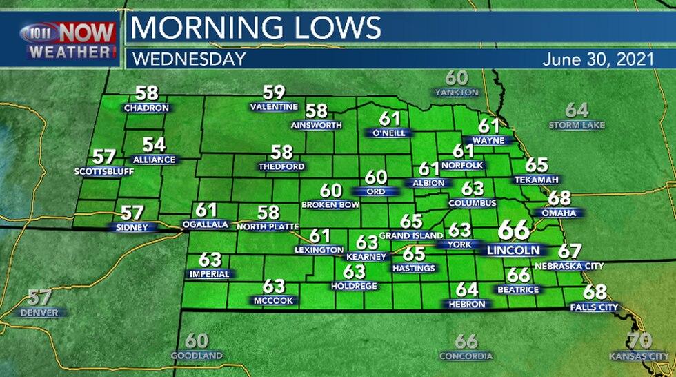 Seasonal overnight lows expected across Nebraska.