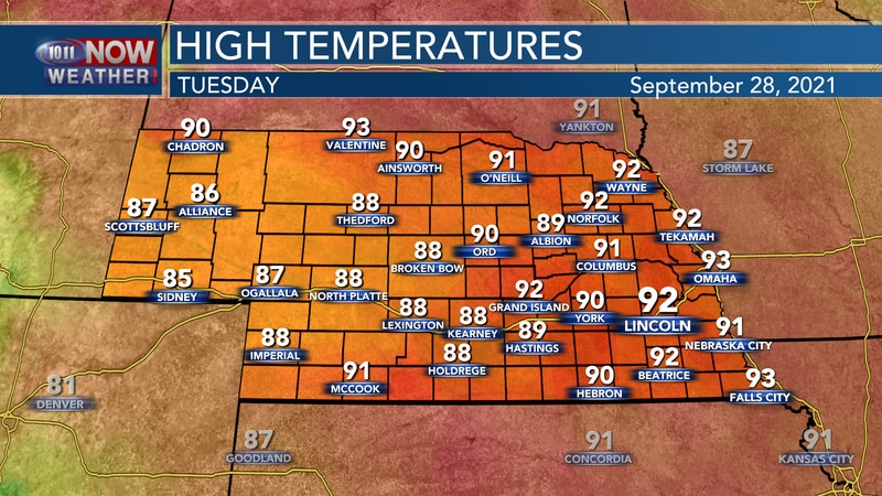 Temperatures stay well above average on Tuesday with highs int he upper 80s to low 90s.