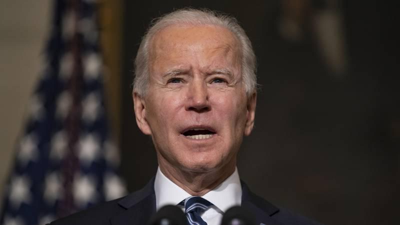 FILE - In this Wednesday, Jan. 27, 2021 file photo, President Joe Biden speaks in the State...