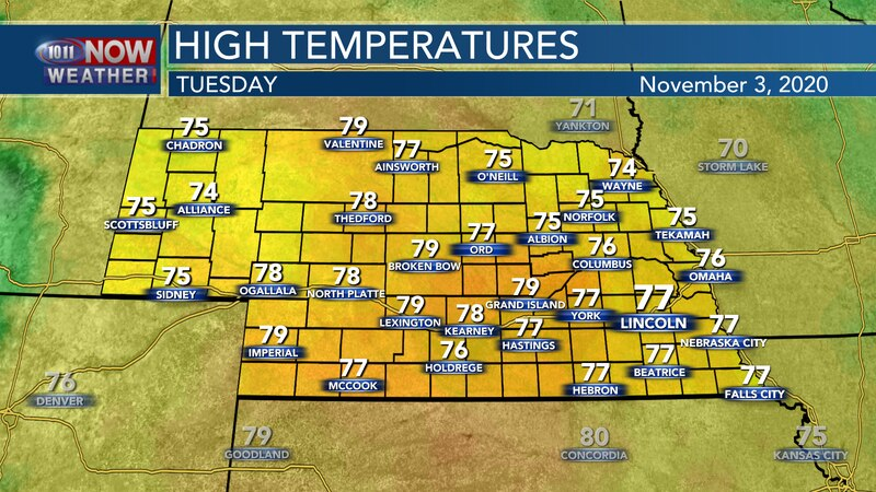 Well above average temperatures are expected on Tuesday with temperatures reaching the mid and...