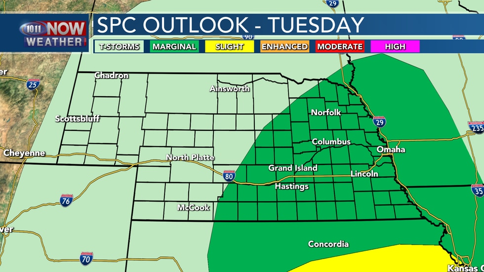 Much of eastern Nebraska is under a marginal risk for severe weather on Tuesday where large...