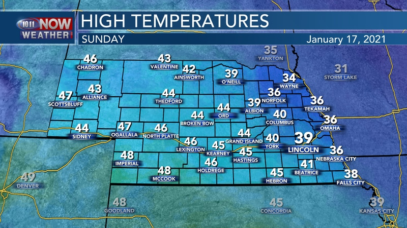 Highs on Sunday will reach the mid 30s to mid 40s for most of the state with blustery northwest...