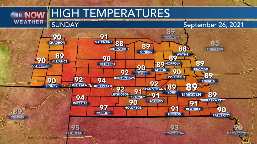 Look for well above average temperatures on Sunday with highs in the upper 80s to upper 90s...