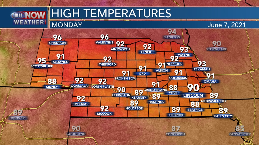 Temperatures on Monday should range from the upper 80s to low 90s.