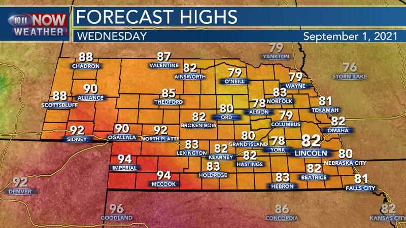Hot temperatures continue in southwest Nebraska. Comfortable temperatures expected in central...