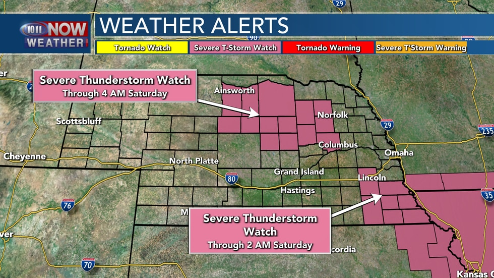 Two severe thunderstorm watches are in place during the overnight hours - one for southeastern...