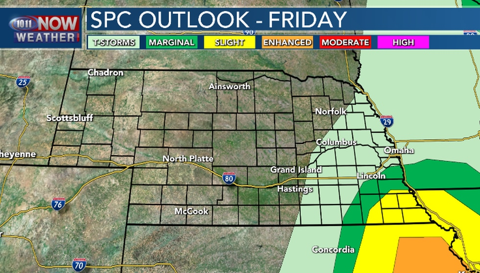 There is still a chance for some severe weather Friday afternoon in far southeast Nebraska.
