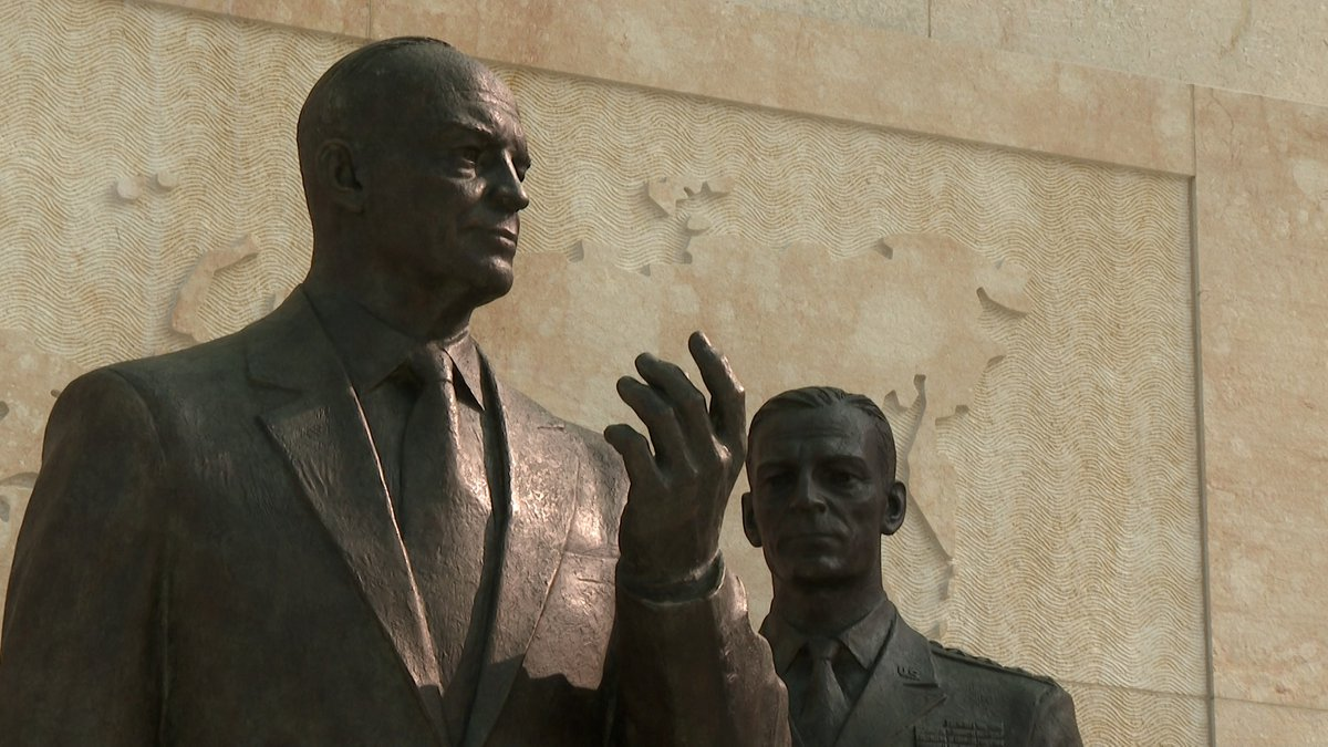 One of the statues that honors our 34th president at the Dwight D. Eisenhower Memorial on the...