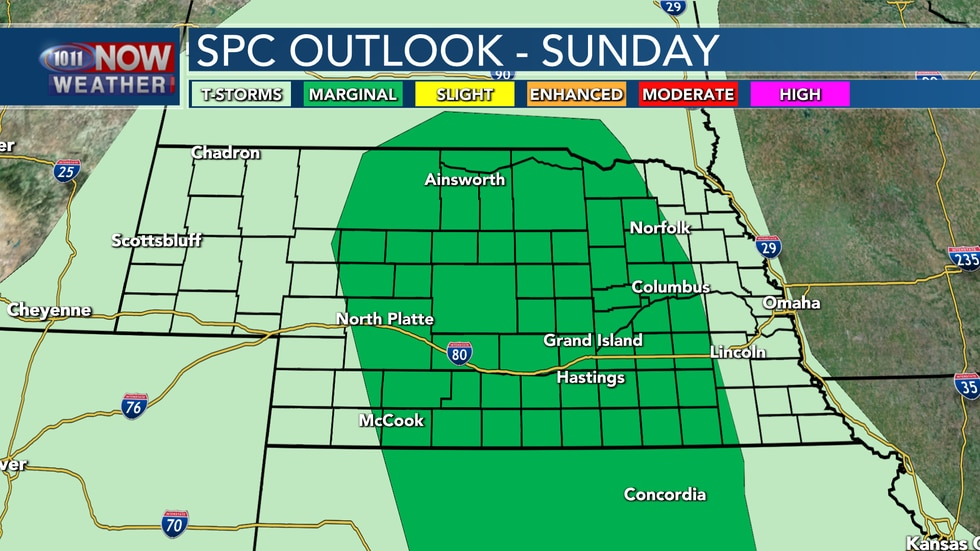 A few isolated severe storms are possible on Sunday across parts of central and into eastern...