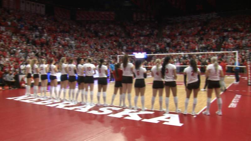 Nebraska volleyball players get ready to face #3 Wisconsin at the Devaney Cetner.