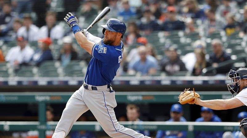 Kansas City Royals' Alex Gordon watches his two-run home run during the first inning of a...