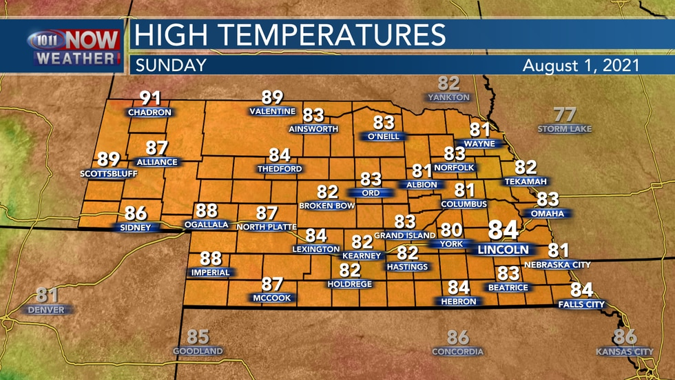 Temperatures by Sunday afternoon should reach to the lower and middle 80s for most of 10/11...