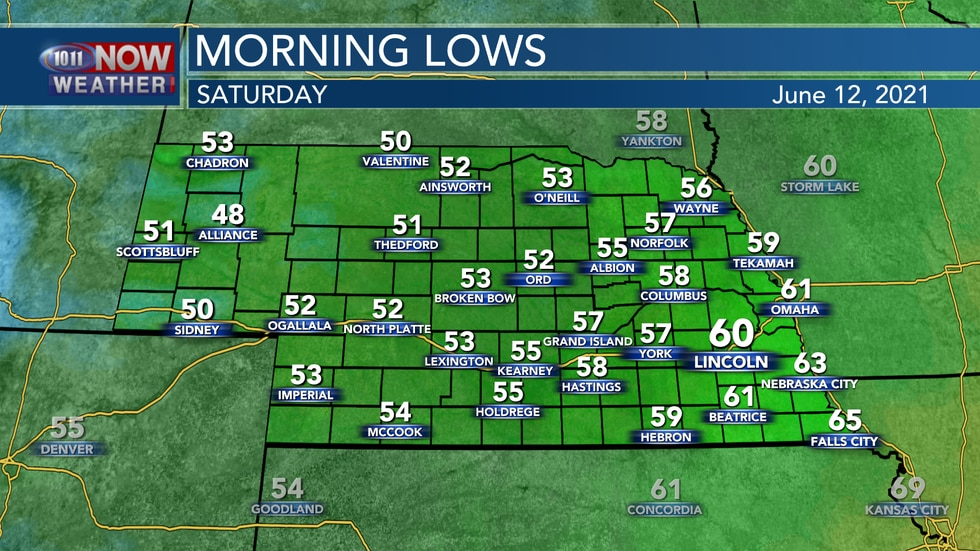 Temperatures into Saturday morning will be rather cool with lows in the low 50s to low 60s.