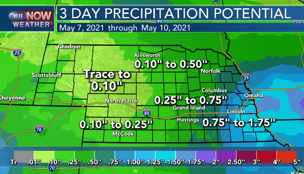 Heaviest rainfall is expected in eastern and southeastern Nebraska. Most of the rain will fall...