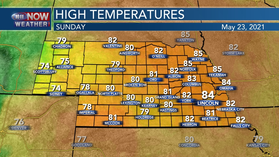 Temperatures should remain in the upper 70s to low 80s on Sunday.