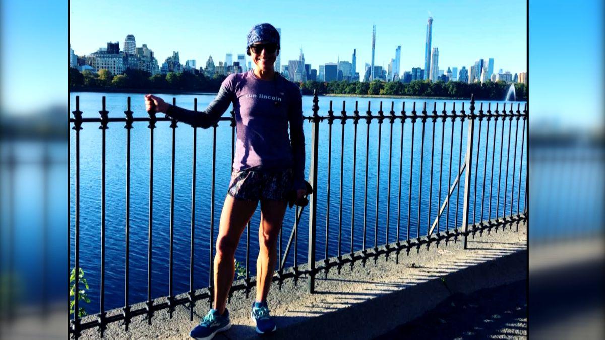 Jennifer Lienemann following a race prior to the cancelled 2020 Boston Marathon.