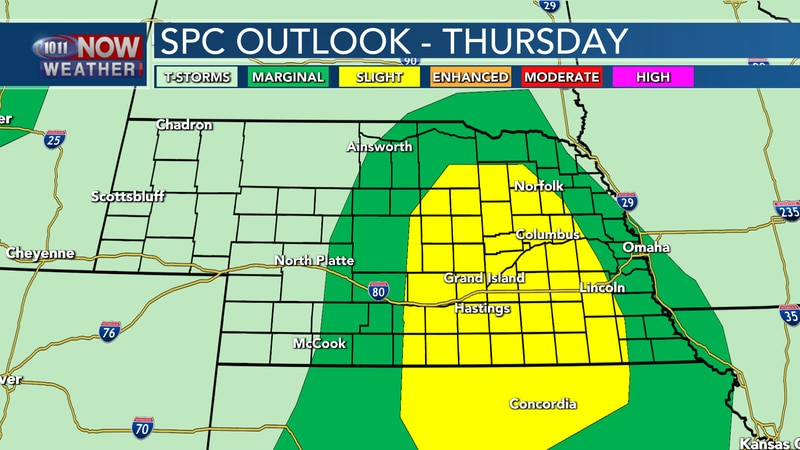 Isolated to scattered severe storms will be possible across central and eastern Nebraska on...