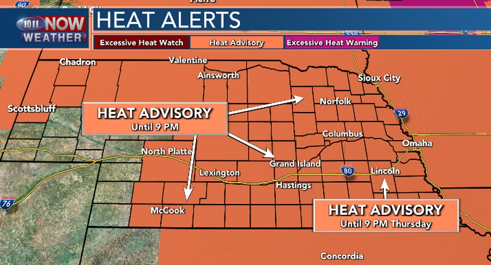 Heat Advisory until 9 PM Wednesday for northern, western and central Nebraska. Until 9 PM...