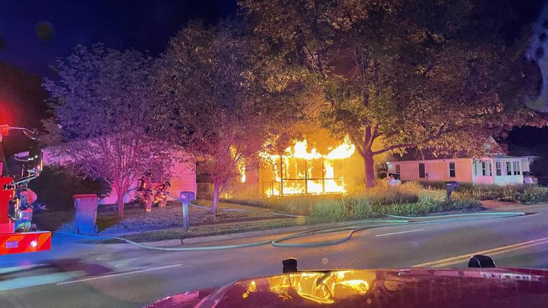 A vacant house near 39th and Vine Streets on fire late Tuesday night.