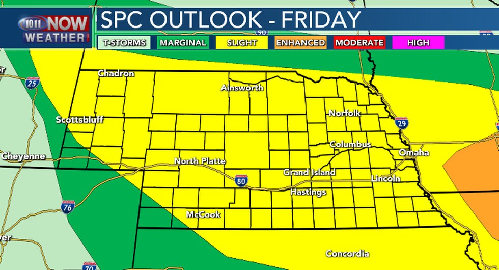 Scattered severe thunderstorms will be possible from late this afternoon into early Saturday...