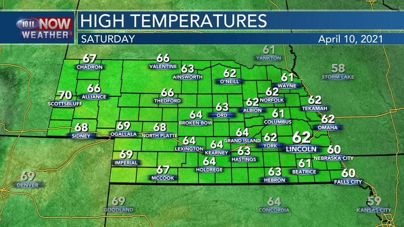 Seasonal temperatures in the low to mid 60s are expected for most of Saturday.