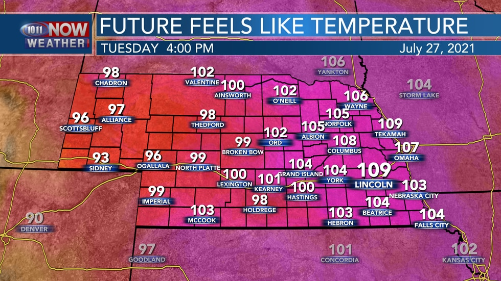 Heat index values by Tuesday afternoon should range between 100° and 110° for the eastern half...